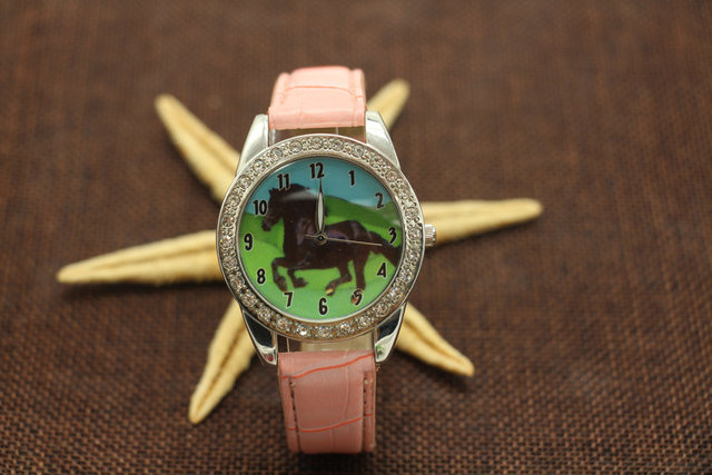 Free Shipping, 10pcs New Popular Black Horse Women Boy Watch Leather Quartz Movement Animal Diamonds Wristwatch