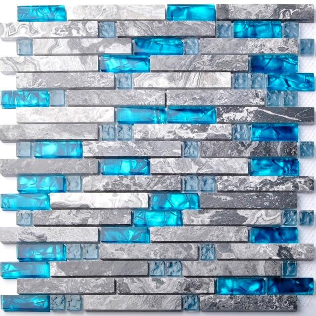 Meer Blau Glas Mosaik Fliesen Küche Backsplash Grau Marmor Badezimmer  Verriegelung Wand Dusche Badewanne Kamin