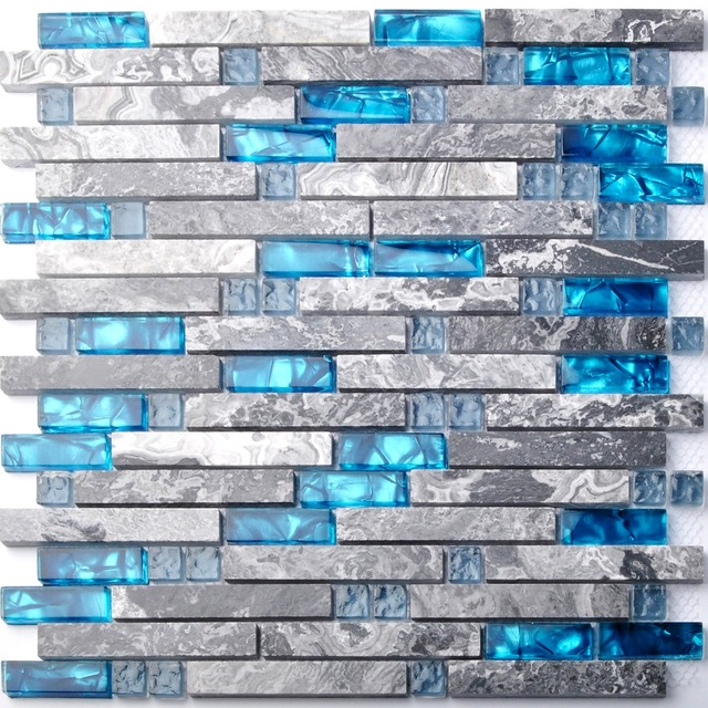 Sea Blue Glass Mosaic Tile Kitchen Backsplash Grey Marble Bathroom  Interlocking Wall Shower Bathtub Fireplace Mosaic