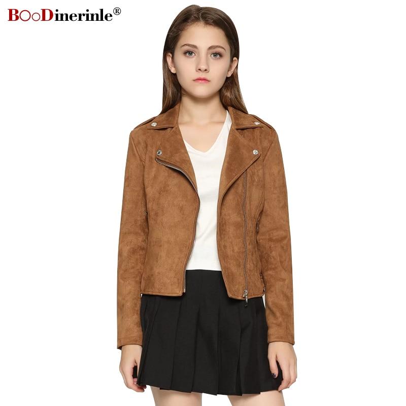 Autumn Women's Jackets New Imitation   Suede     Leather   Short Jacket Female European Style Fashion Slim Diagonal Zipper Jacket F022