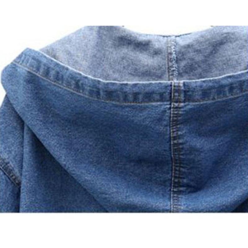 Occasionnel Shenlanse Manteau Vintage Taille Tranchée Casual Denim Long Bouton À Unique qianlanse 4xl Longues vent Cowboy Coupe Plus Femmes Manches Capuchon La S7EERw