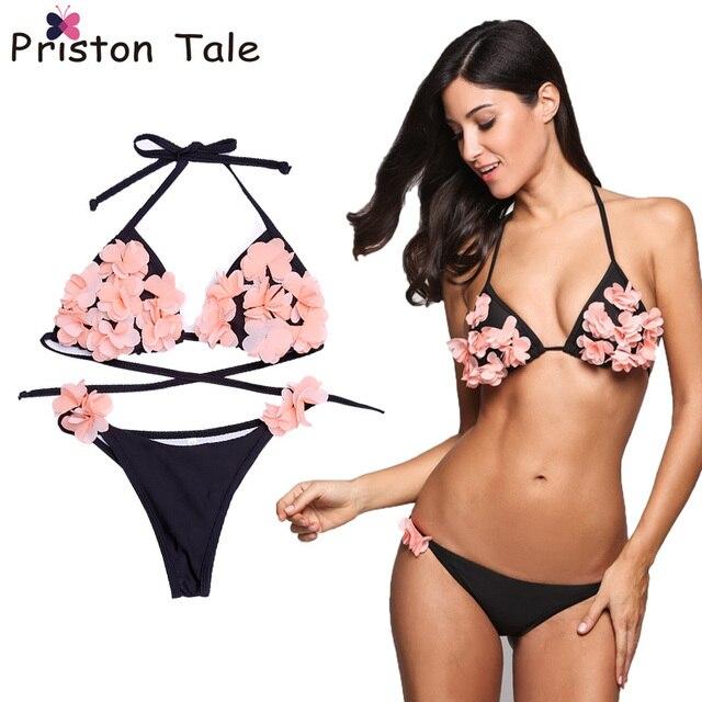 0f35e9a5c340a Women Handmade 3D Flower Bikini Girls Floral Bikinis Set Female Swimsuit  Beach Women Swimwear Halter maillot de bain femme 224
