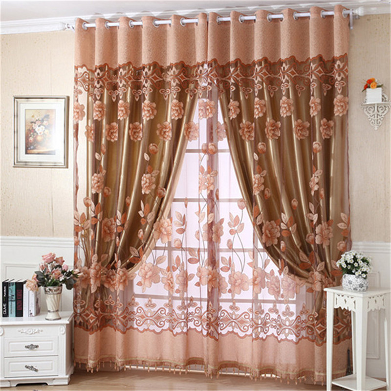casa puerta cortina de ventana dormitorio floral impreso burnout tela de tul cortina de voile ojal