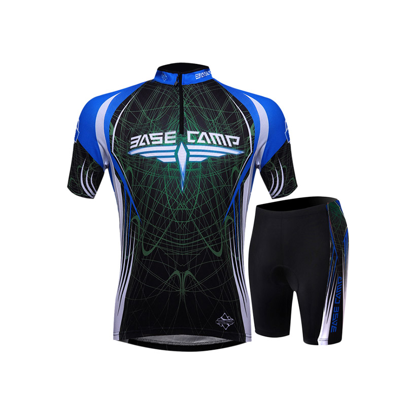 Summer Men Cycling Jersey Set 2Pcs Tight Shirt Underwear MTB Breathable Bicycle Windproof Anti sweat Short