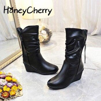 84ba2e75 Теплые женские ботинки средней высоты женские ботинки на высоком каблуке  осенне-зимние Ботинки martin