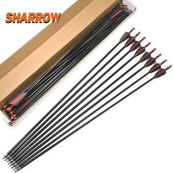 6/12pcs 31.5 Inch Fiberglass Arrow Flecha Steel Black Plastic Feather Recurve Bow Camping Shooting Arrowheat
