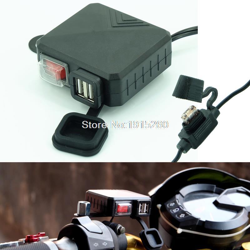Rpmmotor Универсальный motorcycle12v 2.1a всепогодный Dual USB Порты и разъёмы телефон GPS Мощность Зарядное устройство для Honda Yamaha Suzuki Kawasaki