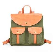 Minimalist Retro Women Small Canvas  Backpack, High Quality Cotton Style Pack with Premium Comfortable Leather
