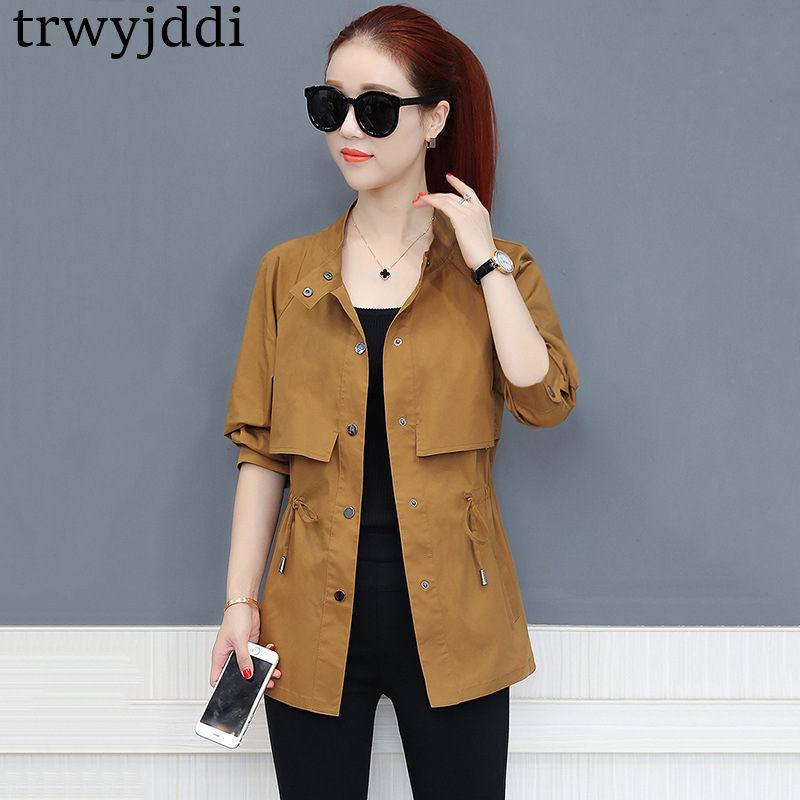 2018 Spring Autumn Women   Trench   Coat Single Breasted Pockets Windbreaker Coat Medium Long Casual Slim Female   Trench   Coat A814