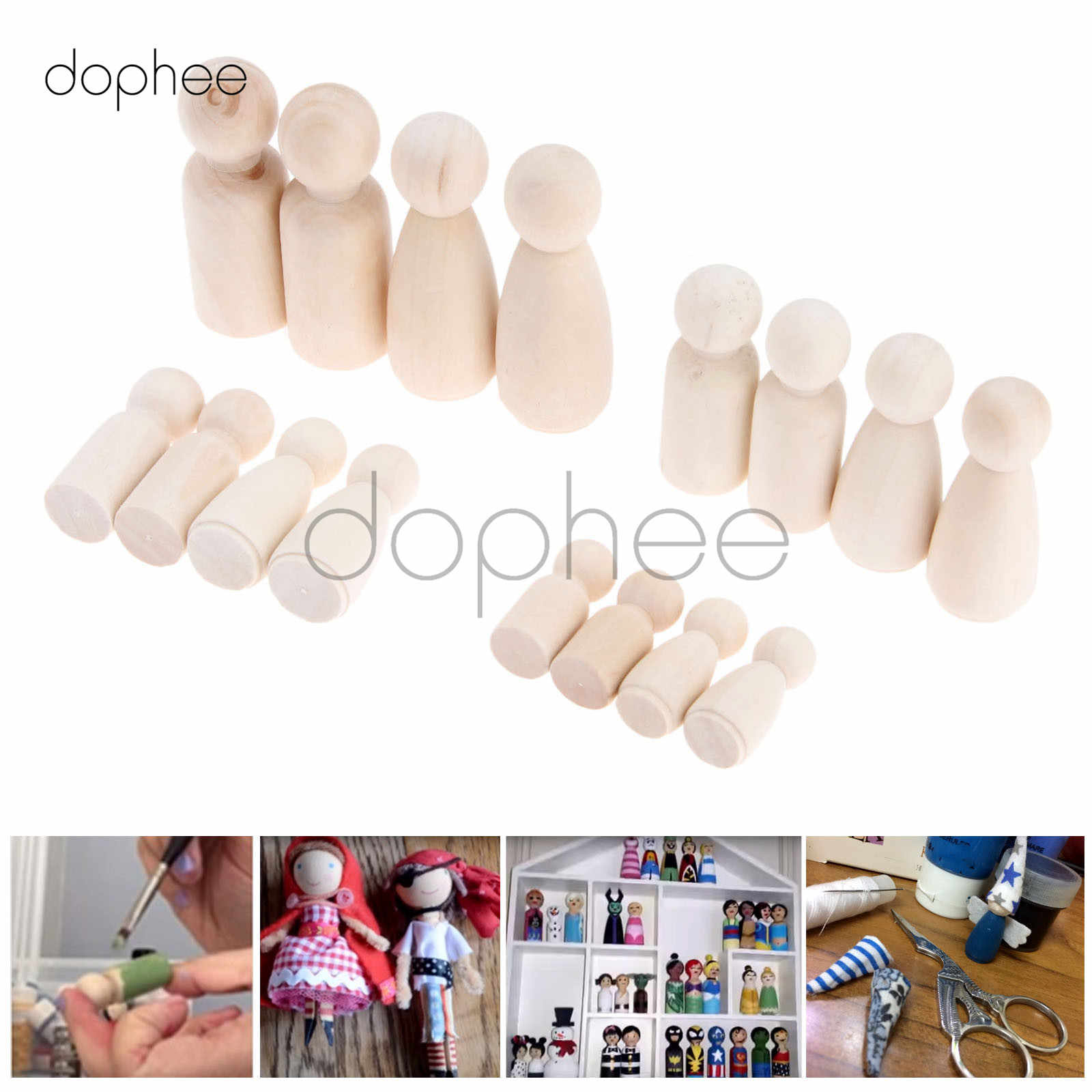 dophee 16pcs Mixed 35/43/55/65mm Wooden Peg Dolls Unpainted Figures Hard Wood Dolls Kid's Printed Baby Souvenirs DIY Crafts