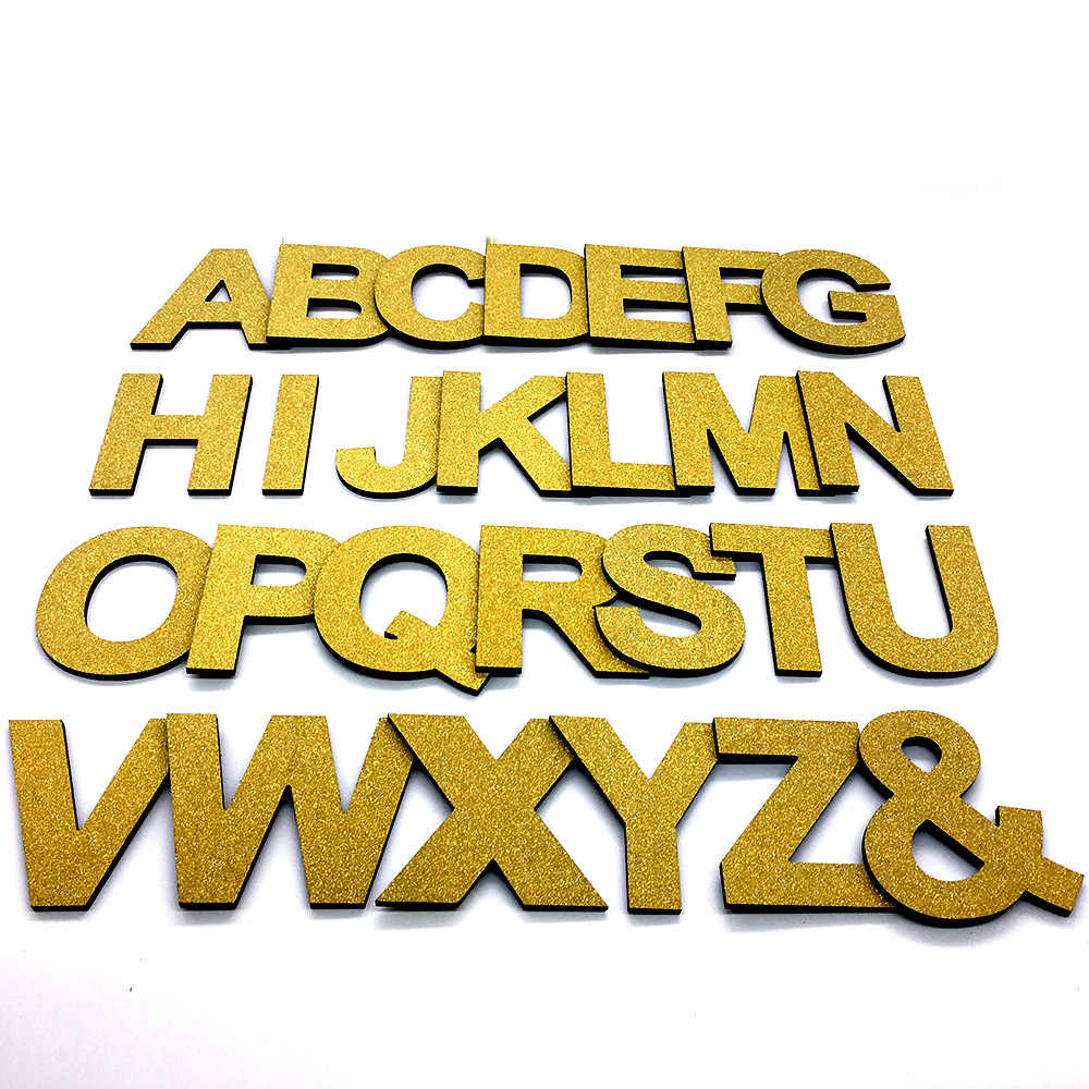 DIY 3D Shiny Gold Capital English Letters Wall Stickers Living Room Bedroom Background Wall Home Decor PVC Removable Stickers