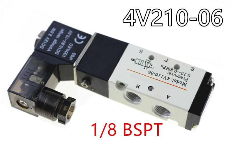 4V110-06 Solenoid Valve 5 Way 2 Position Pneumatic Air 1/8 BSPT DC 24V DC 12V AC 110V AC220V цена и фото