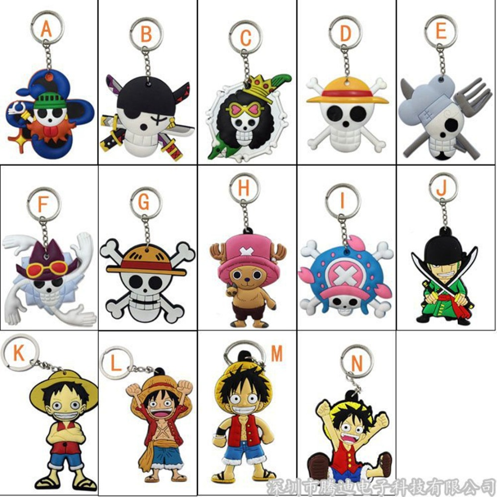 Cartoon One Piece series PVC Keychain Japanese Comic Tony Choppe Luffy Nico Robi Pendant keyrings soft rubber porta chaves Toys