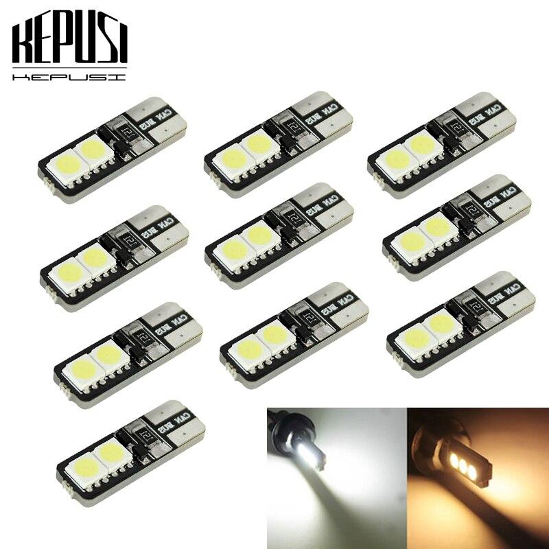 10pcs/lot T10 4 SMD 5050 194 W5W Canbus 12V No Error Free Car Tail Turn Indicator LED Bulbs Light Lamp Tail lights Light Bulb