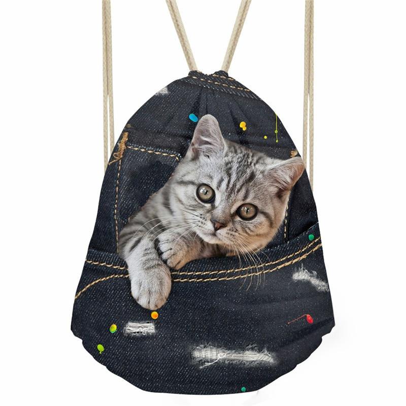 ThiKin Fashion Women Drawstring Bag Black Denim Cat Print Storage Bag Soft Beach Bags Kids Boys
