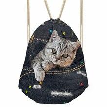 ThiKin Fashion Women Drawstring Bag Black Denim Cat Print Storage Bag Soft Beach Bags Kids Boys Girls Daily Sack Backpacks