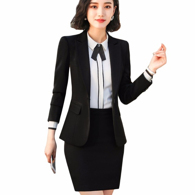 2018 New Business Style Black Women Skirt Suit Full Sleeve Blazer Jacket  and Skirt Office Lady Work Wear 2 Pieces Set 907bb5e92