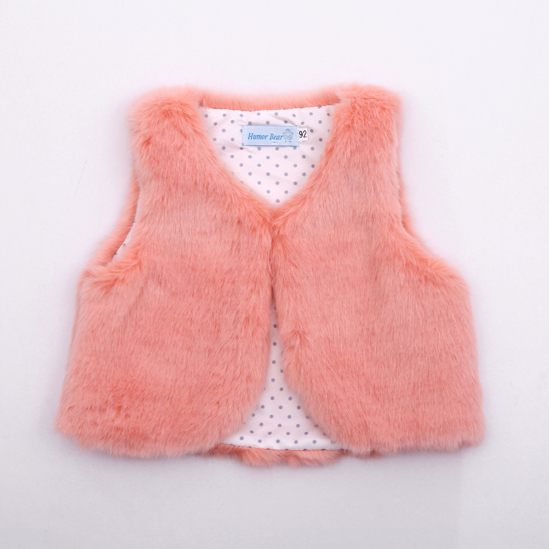 2018 Autumn Winter Baby Sleeveless Faux Fur Vest Baby Girl Winter Waistcoat Fur Vest For Baby Clothing open front faux fur embellished sleeveless cardigan