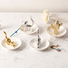 MRZOOT Home Decoration Nordic Jewelry Plate Ring Necklace Ceramic Storage Tray Unicorn For Creative