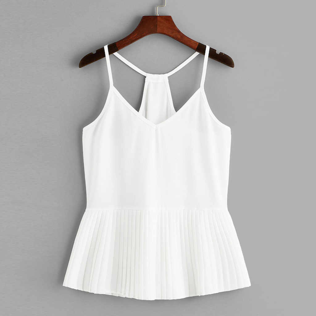 Womail Debardeur Femme Solid Color Summer Fashion Beach Casual V-Neck Sleeveless Club Polyester Material Tank Tops Women 19APR10