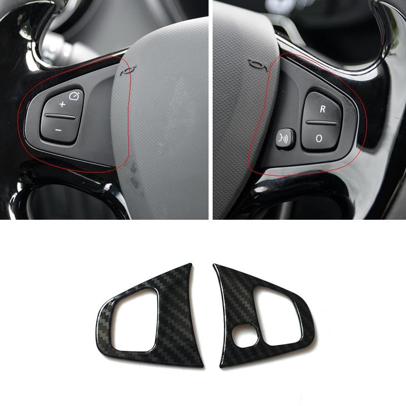 For Renault Clio 4 Clio4 2013 14 15 16 17 2018 ABS Carbon Fiber Car Steering Wheel Trim Cover Sticker Interior Accessories 2pcs