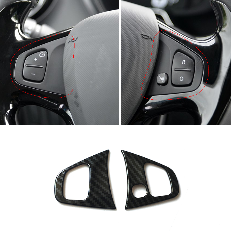 For Renault Clio 4 Clio4 2013 <font><b>14</b></font> 15 16 17 2018 ABS Carbon Fiber <font><b>Car</b></font> Steering <font><b>Wheel</b></font> Trim <font><b>Cover</b></font> Sticker Interior Accessories 2pcs image