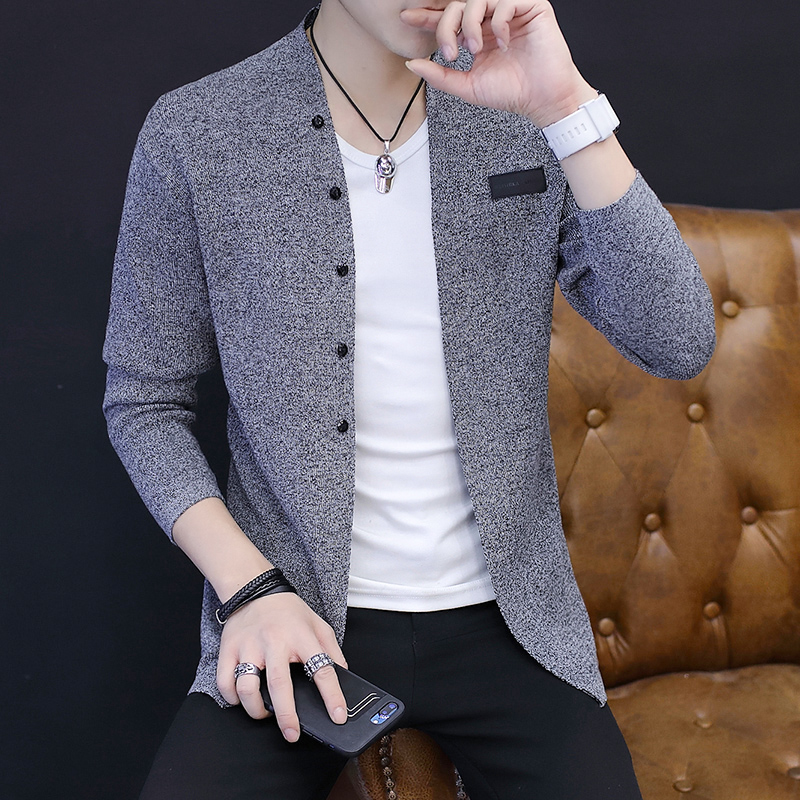 Fall 2019 New Men Sweater Knitting Cardigan On Outside Cultivate One's Morality Fashion Sweater Thin Model
