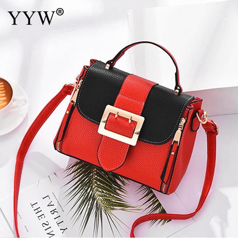 YYW Fashion Pu Leather Hit Color Female Shoulder Handbag Famous Brand Crossbody Bags For Women Black Green Grey Bolsa Feminina
