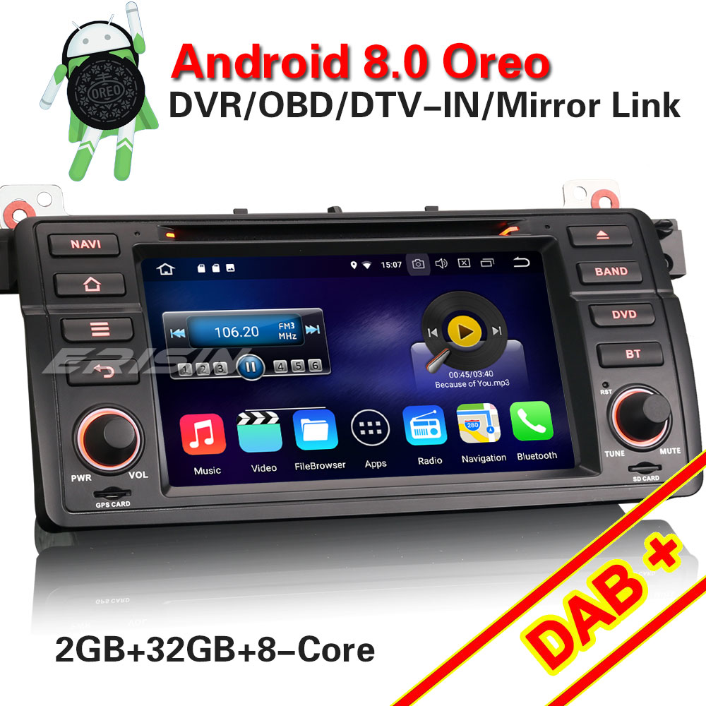 erisin es6846b 7 hd android 8 0 car multimedia player dvd. Black Bedroom Furniture Sets. Home Design Ideas