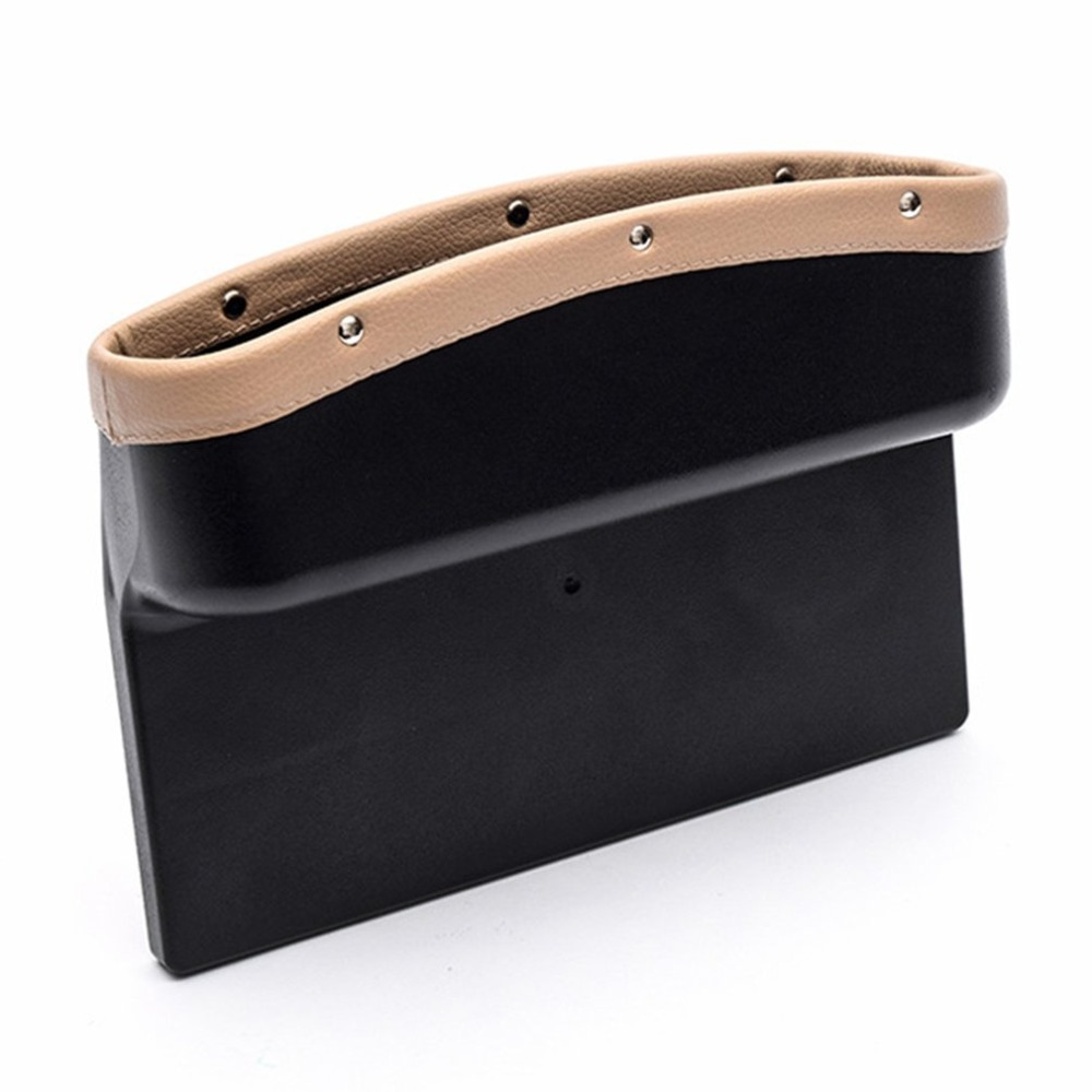 Car Seat Crevice Storage Box 2 Pcs Console Caddy Side Pockets Gap Filler Catcher Organizer Universal PU Leather Bottle Cup Holder Coin Collector Beige