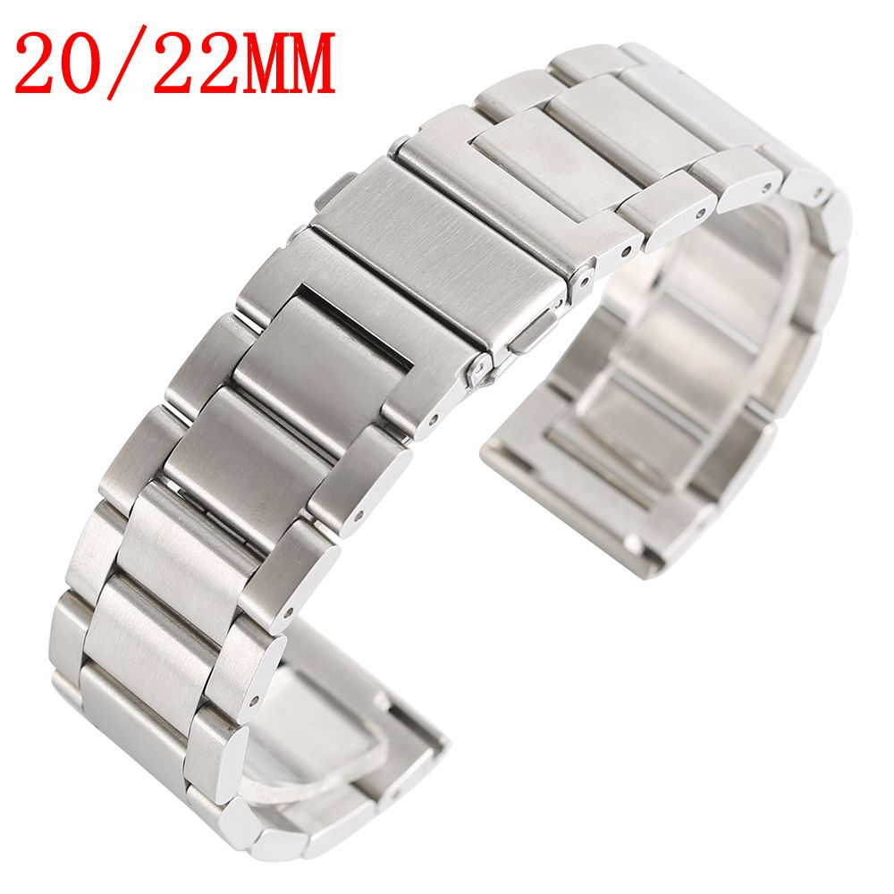 Silver Watch Band Solid Stainless Steel Replacement Bracelet Clasp Men Women Watchband + 2 Spring Bars Watch Band Strap 20/22MM 22mm silver replacement folding clasp with safety shark mesh men watch band strap stainless steel 2 spring bars high quality