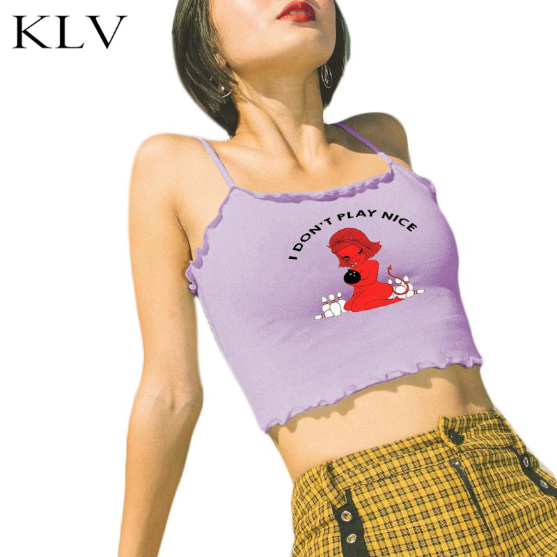 Womens Sexy Straps Ruffles Trim Tube Crop Top Cute Little Devil Letters Print Harajuku Camisole Slim Funny Streetwear