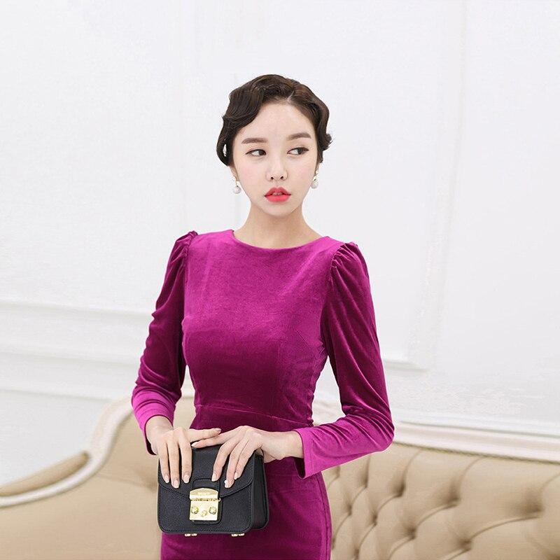 57bfc16e61ec0 Fashion women korean dress new arrival office autumn dress backless  comfortable velvet dual use slim party dress