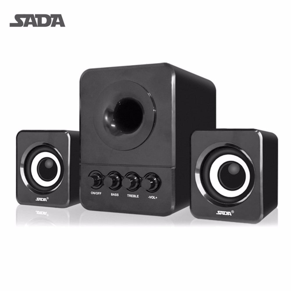 SADA Wired Mini USB Super Bass Subwoofer Speaker 2.1 3 Channel Computer Speakers With USB 3.5mm connector For mp3 Cellphone цена