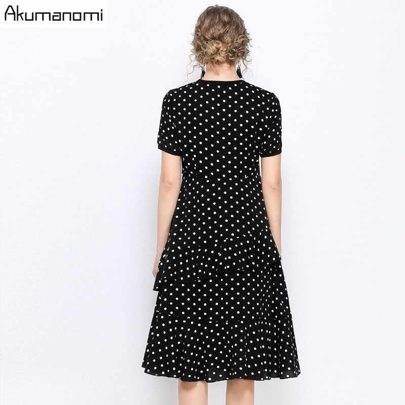 Summer Dress Women 2019 5xl Plus Size Casual Black O-neck Short Sleeve A-line Dot Dress Card Pack Vestidos De Verano Robe Femme
