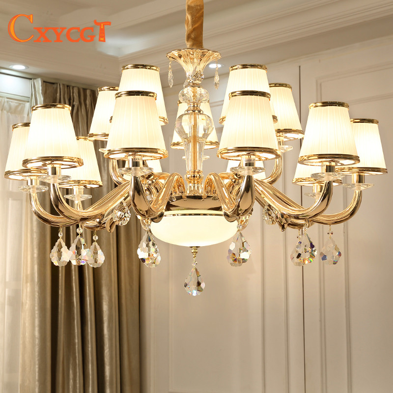 Modern Luxury Crystal Chandelier Lighting For Living Room European lustre para with glass l&shade Indoor Pendant L& Home & Modern Luxury Crystal Chandelier Lighting For Living Room European ...
