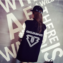 Bigbang kpop concert student clothes plus velvet jacket baseball Hoodies GD k-pop single-breasted coat casual women hoodies