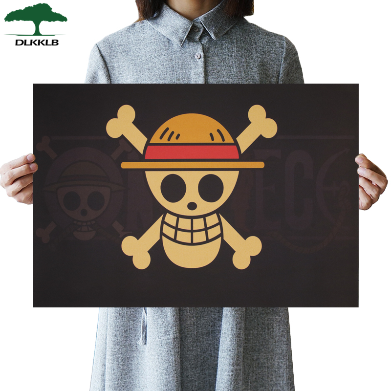 DLKKLB Classic Anime One Piece Poster Luffy Banner Kraft Paper Vintage Dormitory Home Decoration 50.5x35cm Wall Sticker