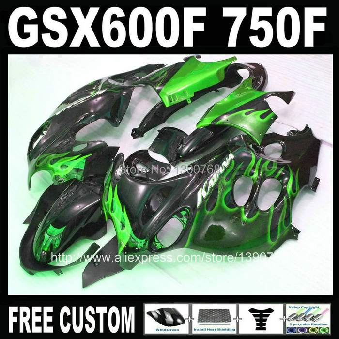 ABS full fairing kit for SUZUKI KATANA GSX600F 2003 2004 2005 2006 green flames in black fairings set GSX750F 03 04 05 06 HM35 dhs power g13 pg13 pg 13 pg 13 blade with dhs hurricane2 hurricane3 rubbers for a racket shakehandlong handle fl