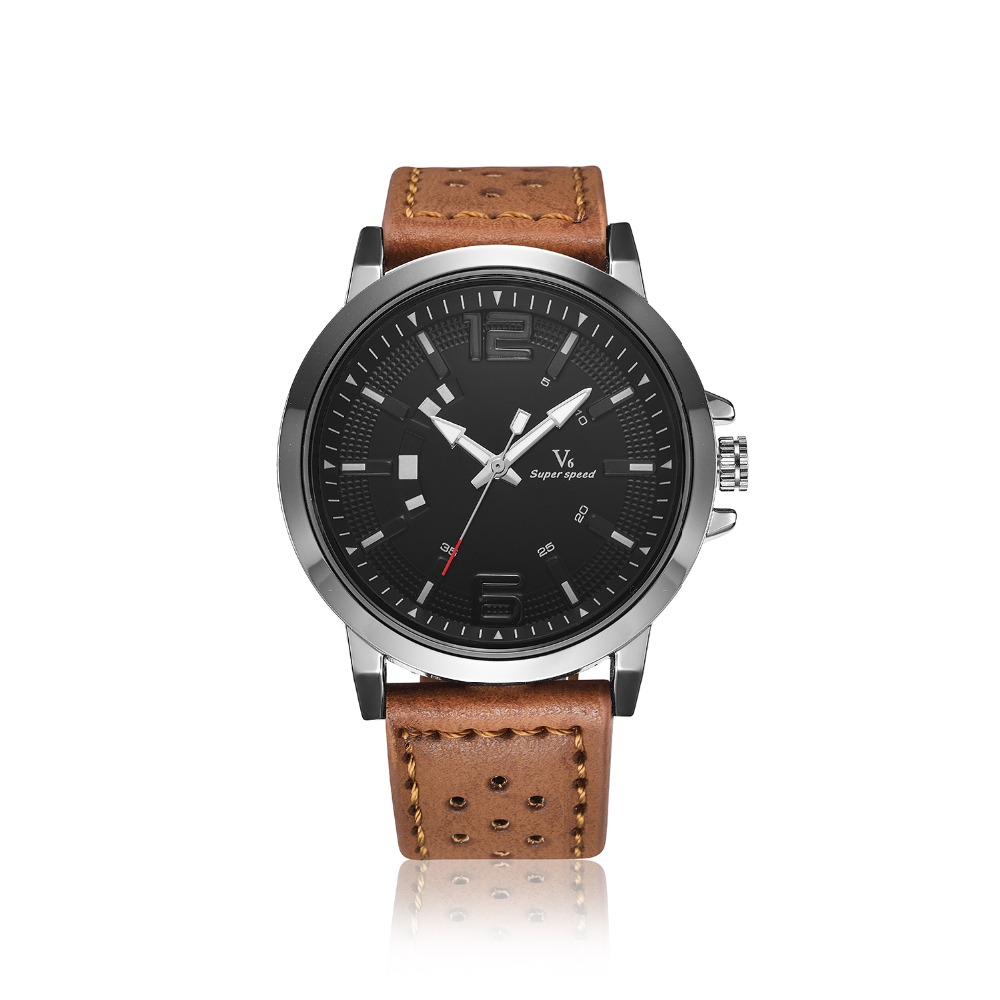 V6 Brand Luxury Famous men watches Fashion Leisure Dress Quartz Watch Business leather watch Male Clock Stport Relogio Masculino  binger brand luxury famous men watches fashion leisure dress automatic watch business leather watch male clock relogio masculino