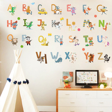 DICOR Cartoon Colorful 26 Letters Alphabet Wall Decal Sticker Home Decor DIY Removable Art Vinyl Mural For Kids QT740KJ-4MB