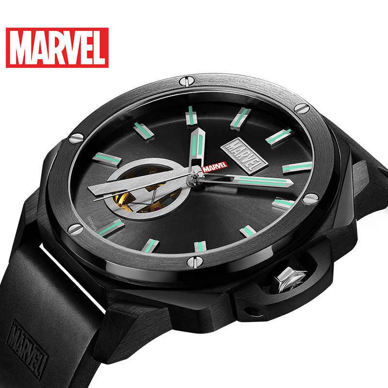 81de5b0c5 Marvel hombre Automático 5 Bar resistente al agua goma banda relojes hombres  mecánico luminoso superior marca