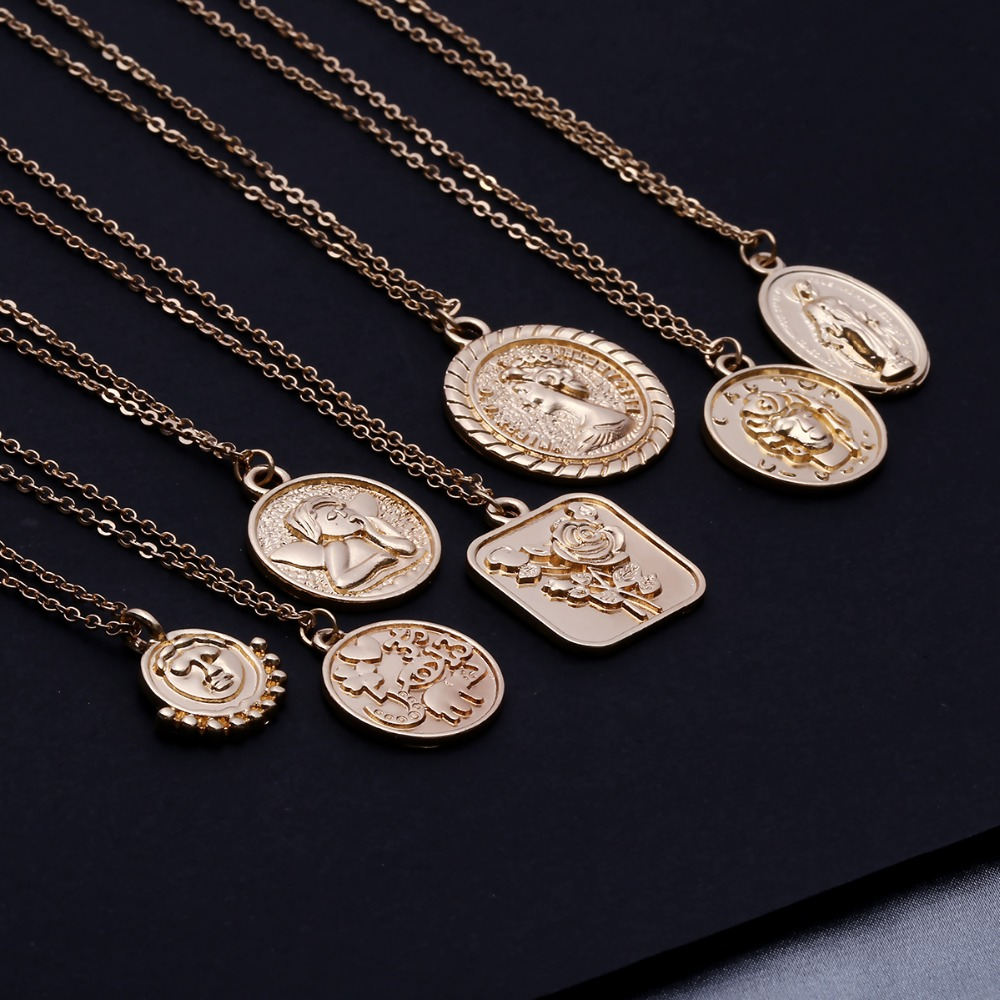 Ingemark Simple Vintage Carved Coin Pendant Necklace Statement Face Goddess Virgin Mary Rose Angel Long Chain Necklace Women(China)