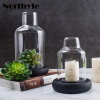 Dream House DH Vintage Candle Holders Glass Candlestick Column Candle Stand Wedding Decor Glass Terrarium Plants