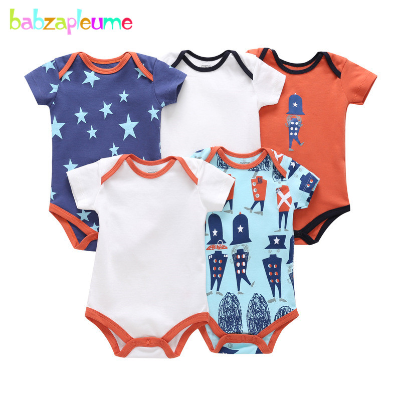 5Piece/Summer Newborn Clothing Baby Wears Girls Outfits Cotton Short Sleeve Jumpsuit Cartoon Cute Infant Bodysuit Sets BC1259 1