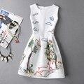 Nova moda primavera verão dress mulheres 2017 magro animal impresso frança senhora a-line dress vestido ocasional do vintage roupas femininas