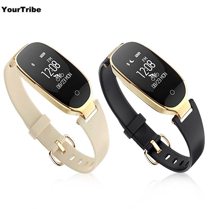 S3 pulsera inteligente Monitor de ritmo cardíaco reloj de alarma impermeable reloj de Fitness Tracker podómetro contador de paso inteligente pulsera negro