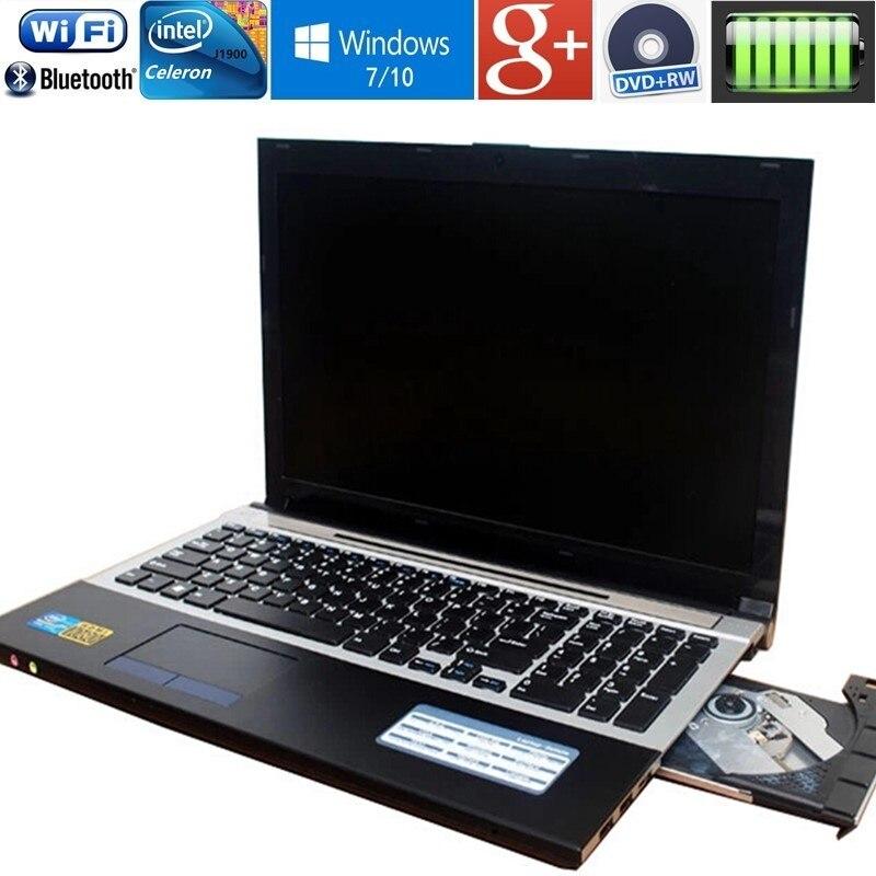 15.6 pollici 1920X1080 p 4 gb di RAM + 320 gb HDD N3520 Quad Core Del Computer Portatile Del Computer con Russo tastiera WIFI HDMI DVD-RW Windows10 Notebook