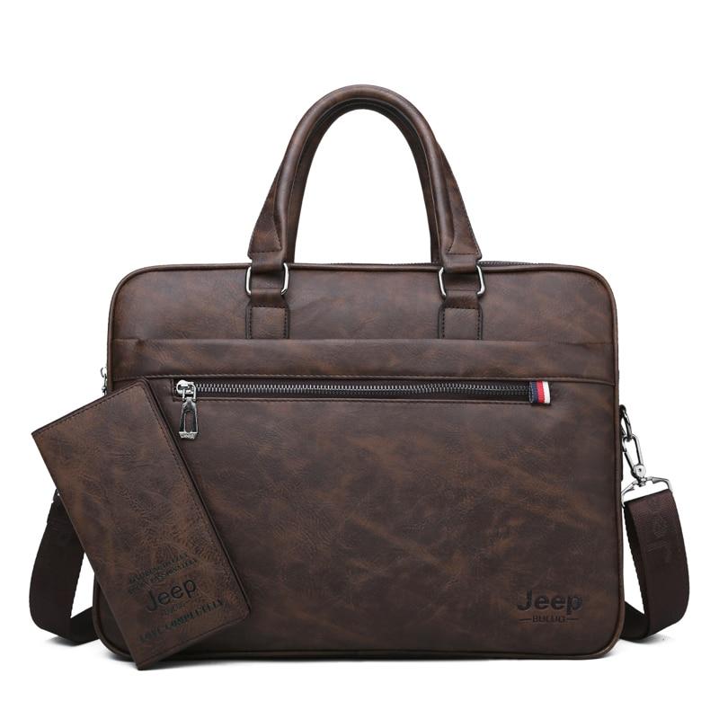 Image 5 - JEEP BULUO Famous Brand Men Briefcase Bag office Business Leather  Shoulder Crossdody Bag Travel 14Laptop iPad A4 Files  HandbagsBriefcases