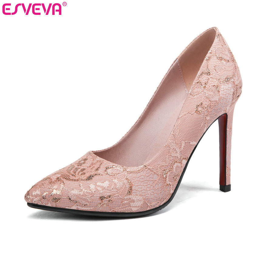 ESVEVA 2020 Wedding Shoes Thin High Heel Pumps Lace+PU leather Pointed Toe Basic Slip On Elegant Shallow Bridal Shoes Size 34-43ESVEVA 2020 Wedding Shoes Thin High Heel Pumps Lace+PU leather Pointed Toe Basic Slip On Elegant Shallow Bridal Shoes Size 34-43